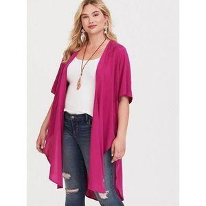 Torrid Berry Pink Eyelet Challis Kimono 1 / 2